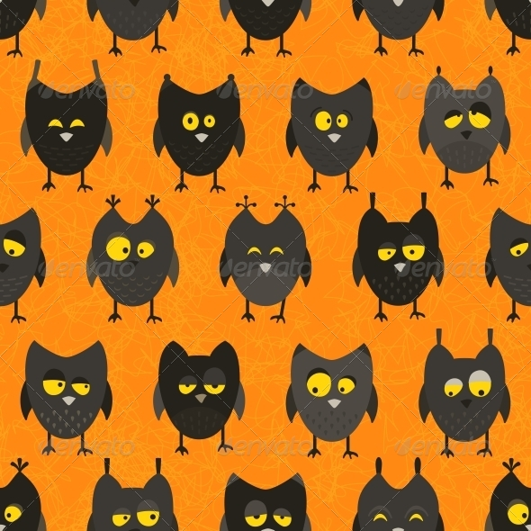 GraphicRiver Halloween Owl Seamless Background 5790087