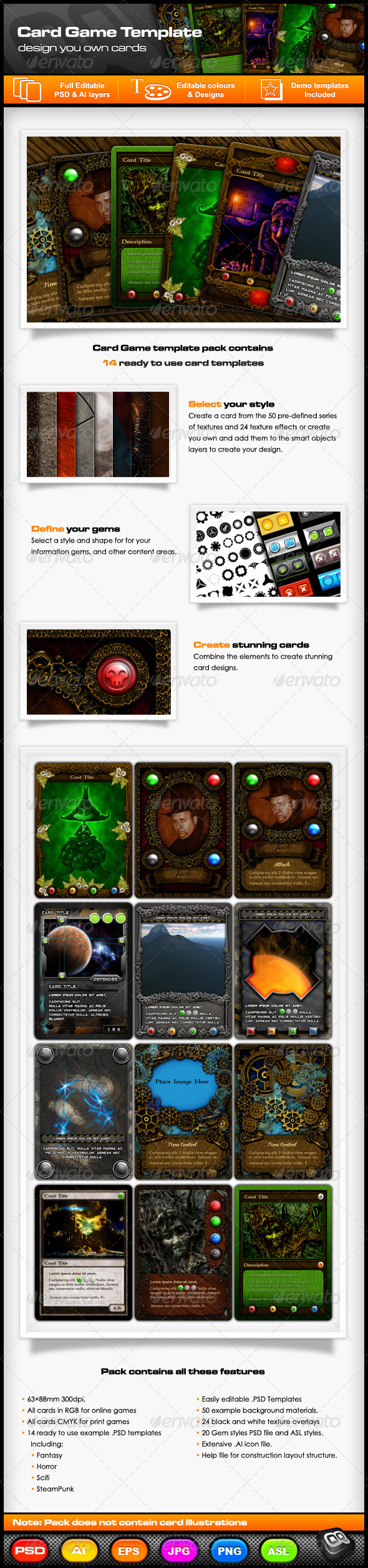 Collectable Card Game Template Pack