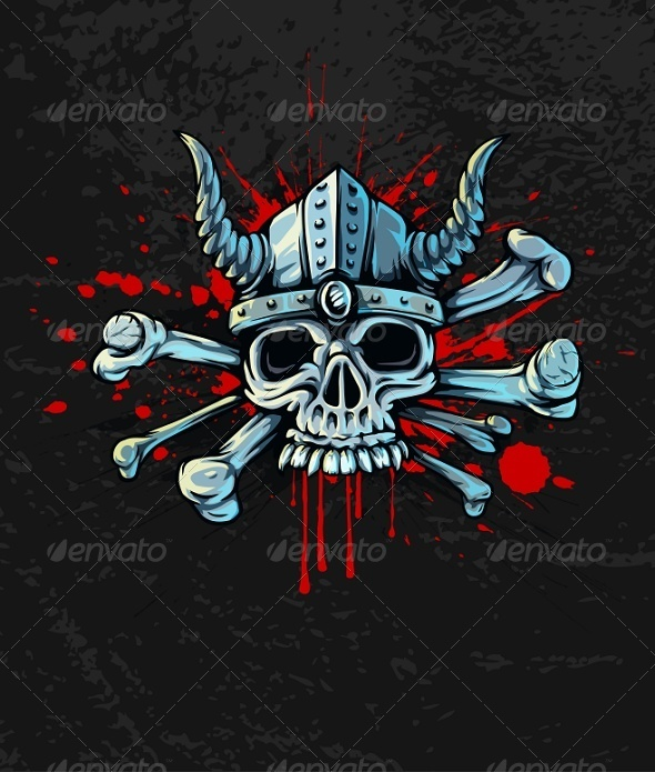 Bloody Skull in Helmet with Horns and Bones