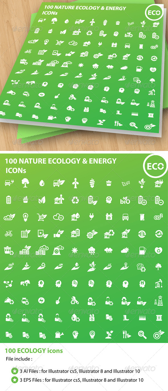 GraphicRiver 100 Ecology & Energy Icons 5791570