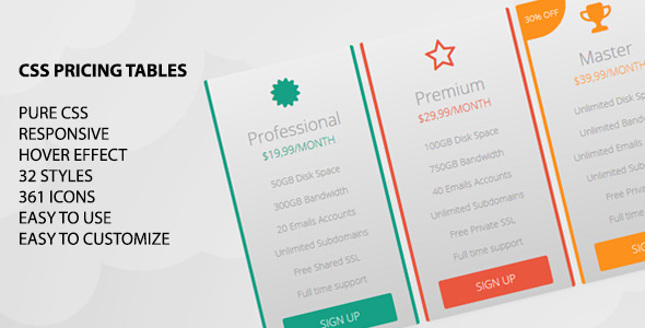 CodeCanyon CSS Pricing Tables 5791650