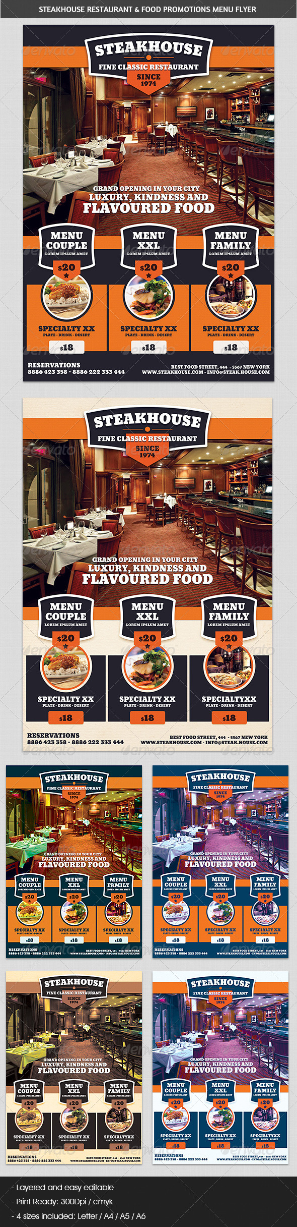 GraphicRiver Steakhouse Restaurant & Food Promotions Flyer 5791759