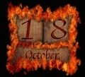 Burning wooden calendar October 18. - PhotoDune Item for Sale