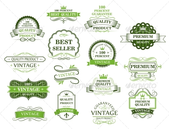 GraphicRiver Green Labels and Banners 5791781