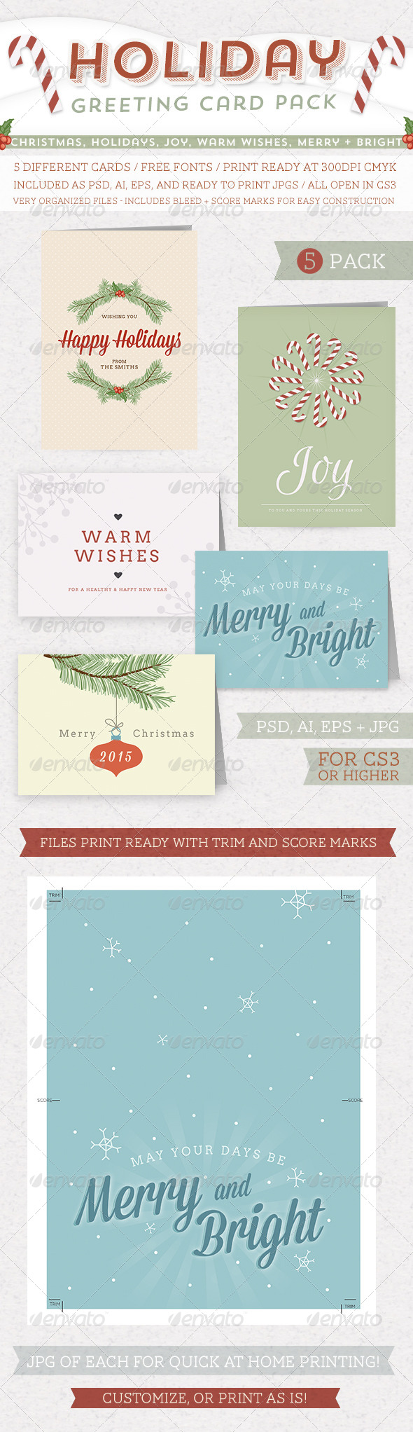 GraphicRiver Holiday Greeting Card Pack 5792445