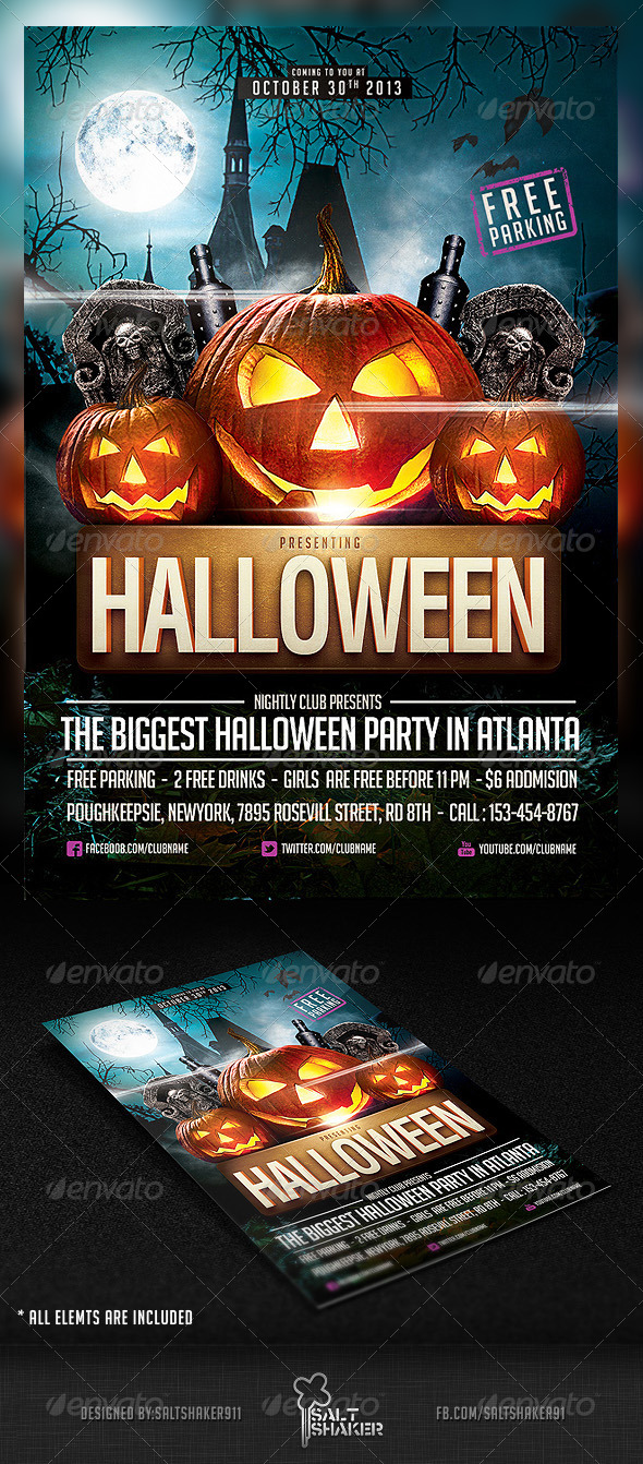 GraphicRiver Halloween Party Flyer Template 5792890