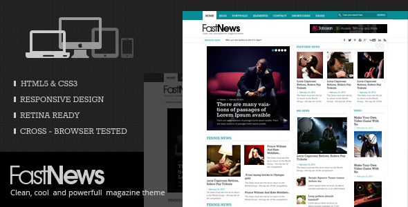 FastNews -  HTML5 Magazine Template - Corporate Site Templates