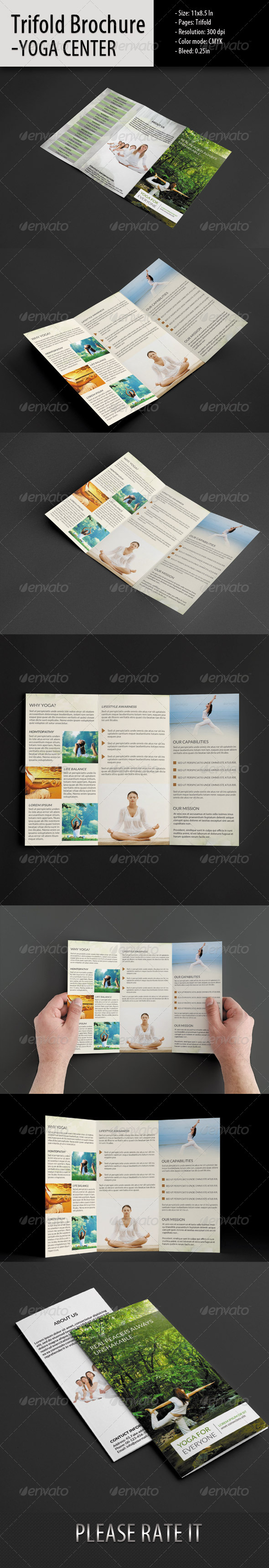 GraphicRiver Trifold Brochure For Yoga Center 5794377