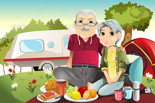 GraphicRiver Senior Couple Camping 5796655