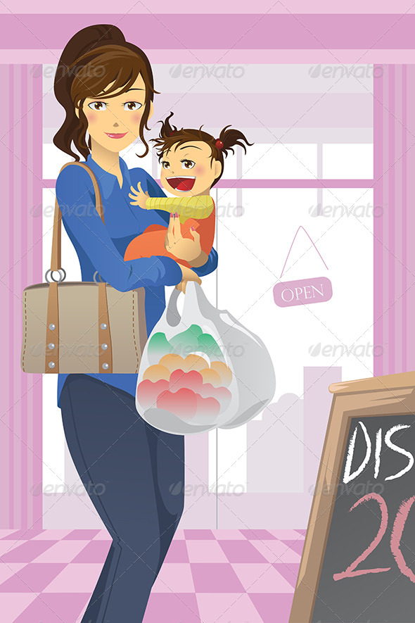 GraphicRiver Mother and Daughter Shopping 5796912