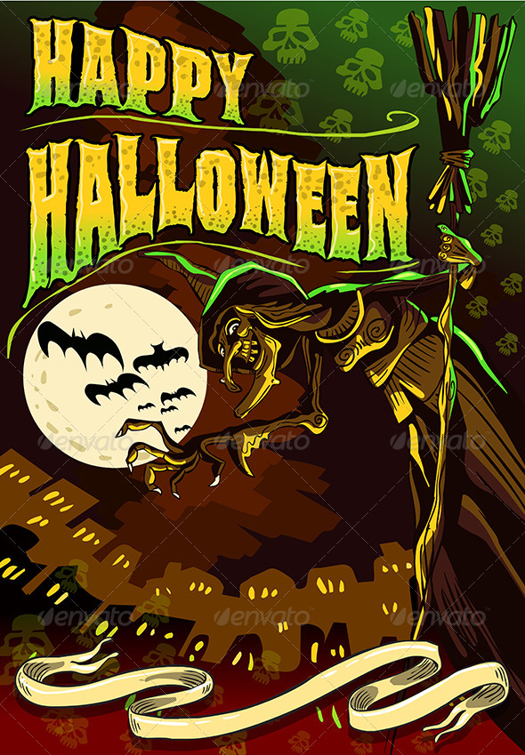 GraphicRiver Poster Invite for Halloween Party with Witch 5797519