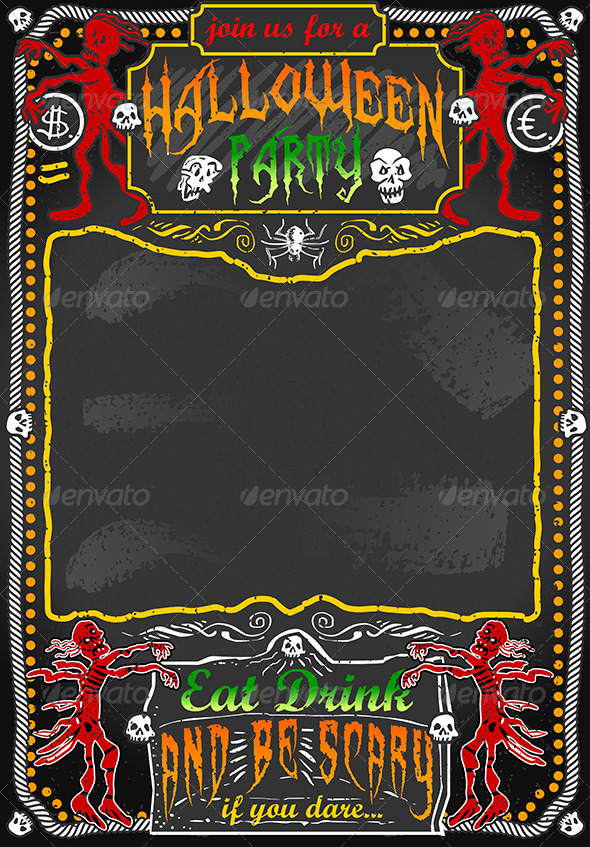 GraphicRiver Vintage Blackboard for Halloween Party 5797655