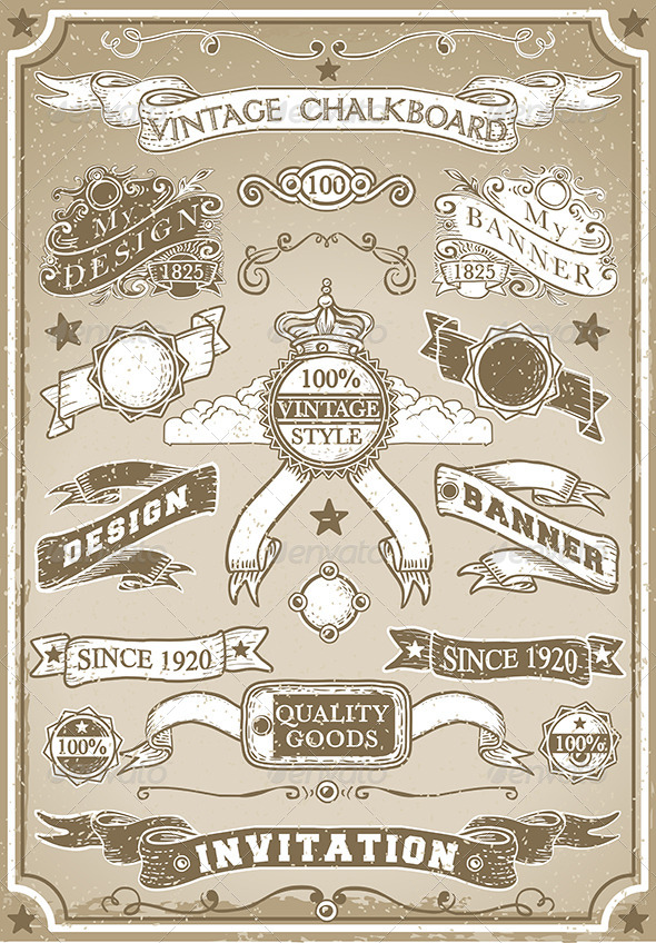 Vintage Hand Drawn Graphic Page Banners