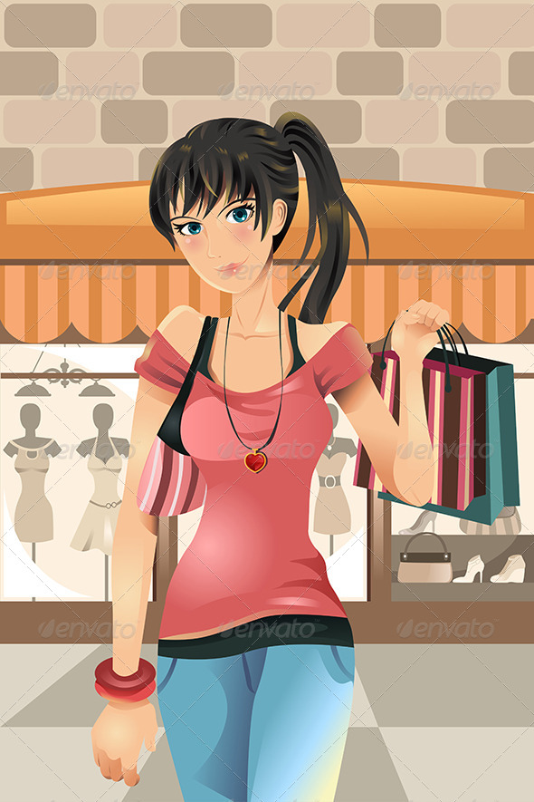 GraphicRiver Shopping Woman 5797861