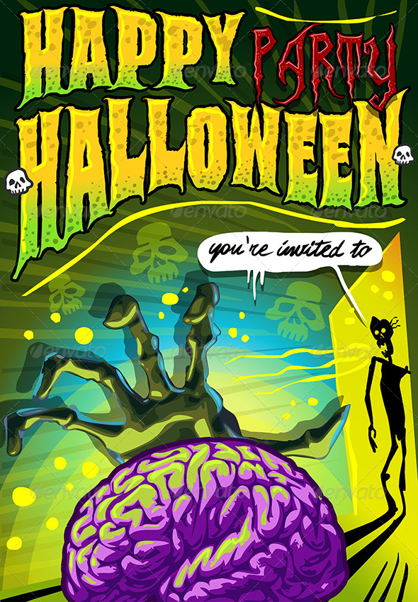 GraphicRiver Poster Invite for Halloween Party with Brain 5798034