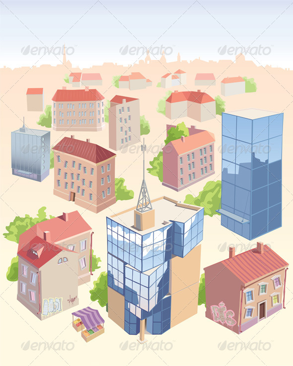 GraphicRiver Set of the City Buildings 5798126