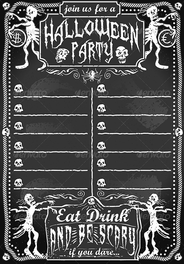 GraphicRiver Vintage Blackboard for Halloween Party 5798148