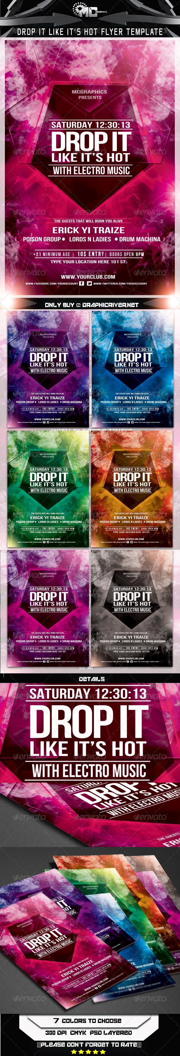 GraphicRiver Drop It Like it s Hot Flyer Template 5798151