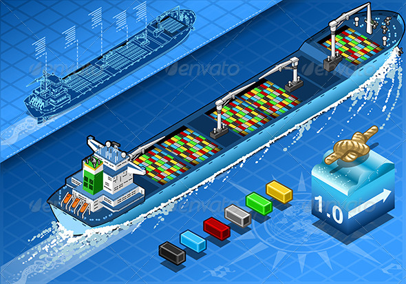 GraphicRiver Isometric Cargo Ship with Containers in Rear View 5798216