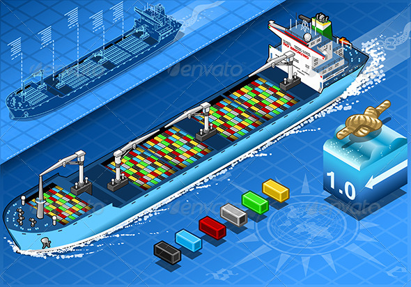 GraphicRiver Isometric Cargo Ship with Containers in Front View 5798223