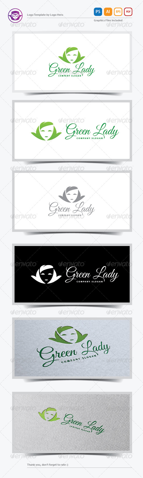 GraphicRiver Green Lady Logo Template 5798244