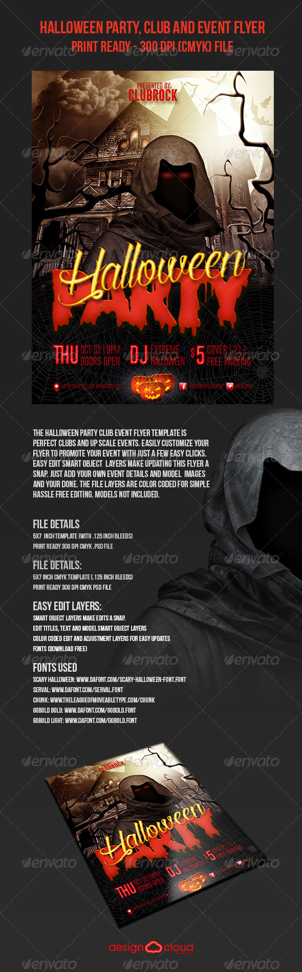GraphicRiver Halloween Party Club and Event Flyer 5799101