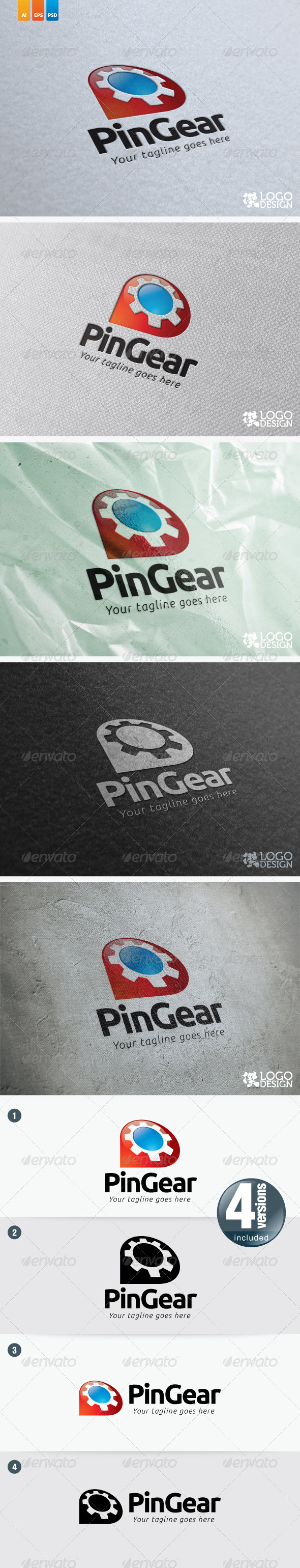 Pin Gear - Symbols Logo Templates