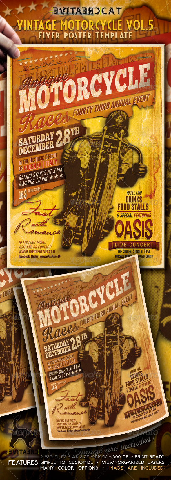 GraphicRiver Vintage Motorcycle Flyer Poster Vol 5 5799629