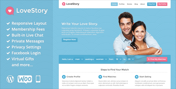 LoveStory is a perfect theme for any dating or communit