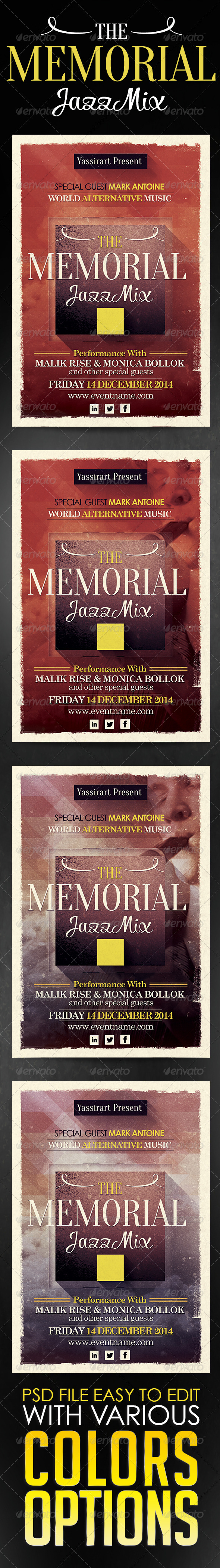 GraphicRiver Memorial Jazz Mix Flyer Template 5799636