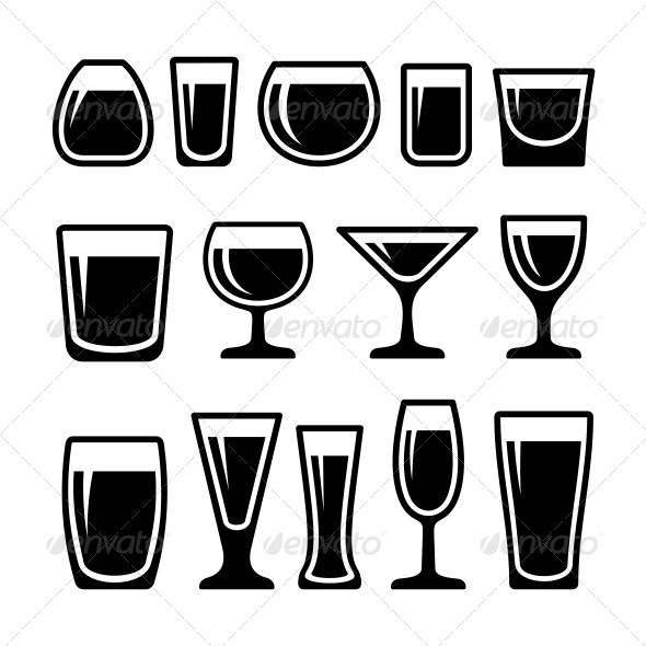 GraphicRiver Set of Drink Glasses Icons 5799705