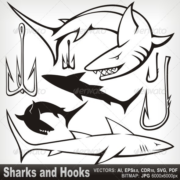 GraphicRiver Sharks and Hooks 5799707