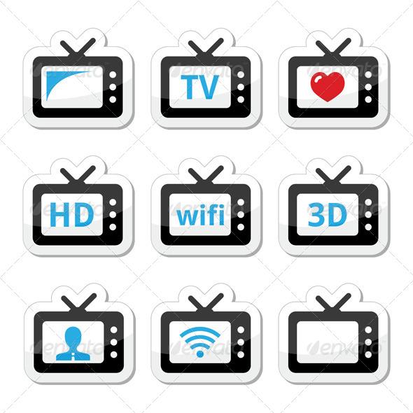 GraphicRiver TV Set 3D HD Cector Icons Set 5800035