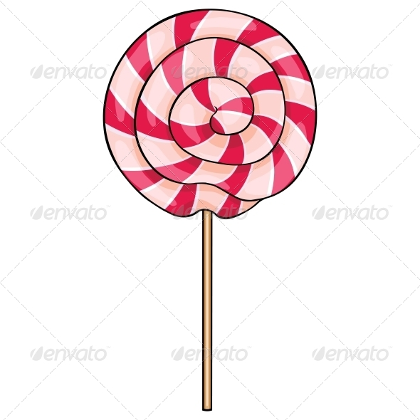 Vector Cartoon Lollipop Swirl