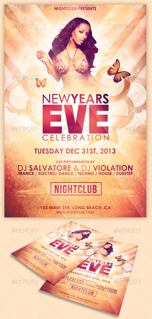 GraphicRiver Glamorous New Years Eve Flyer 5800166