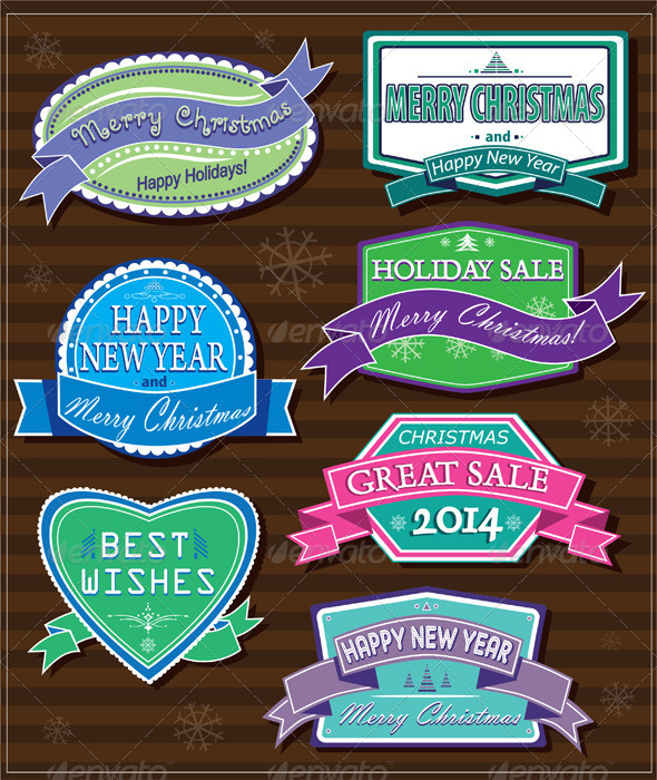 GraphicRiver Christmas Labels 5800394