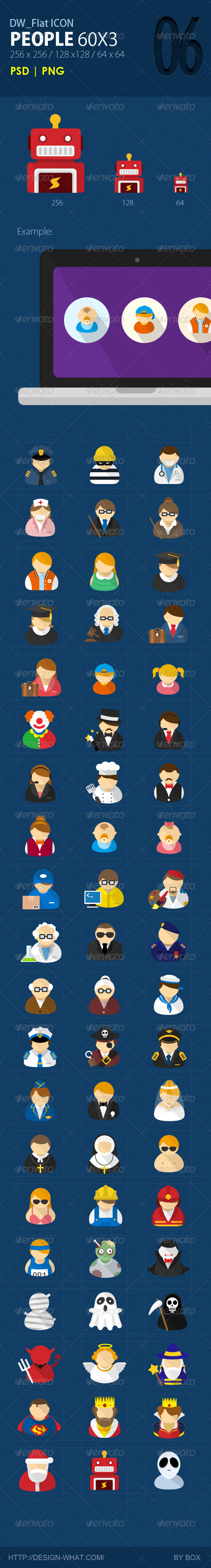 GraphicRiver 60 Flat ICONs People 5800629