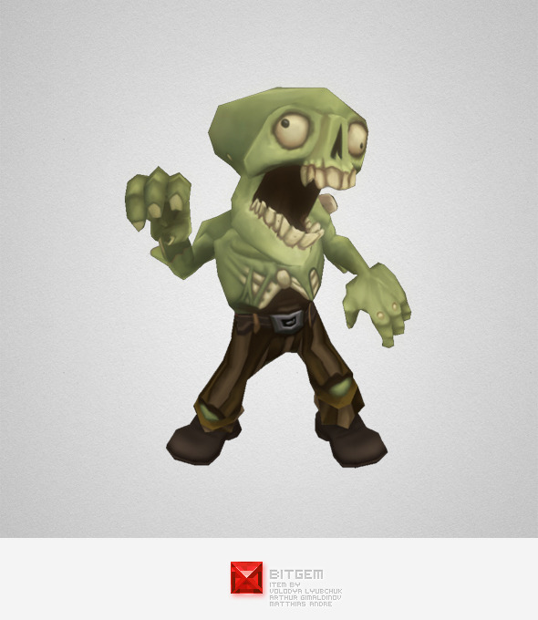 Low Poly Zombie Commoner - 3DOcean Item for Sale