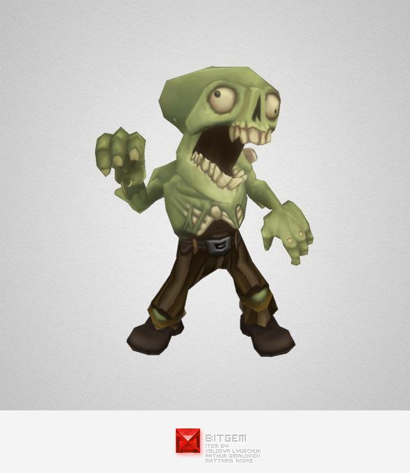 3DOcean Low Poly Zombie Commoner 5801018