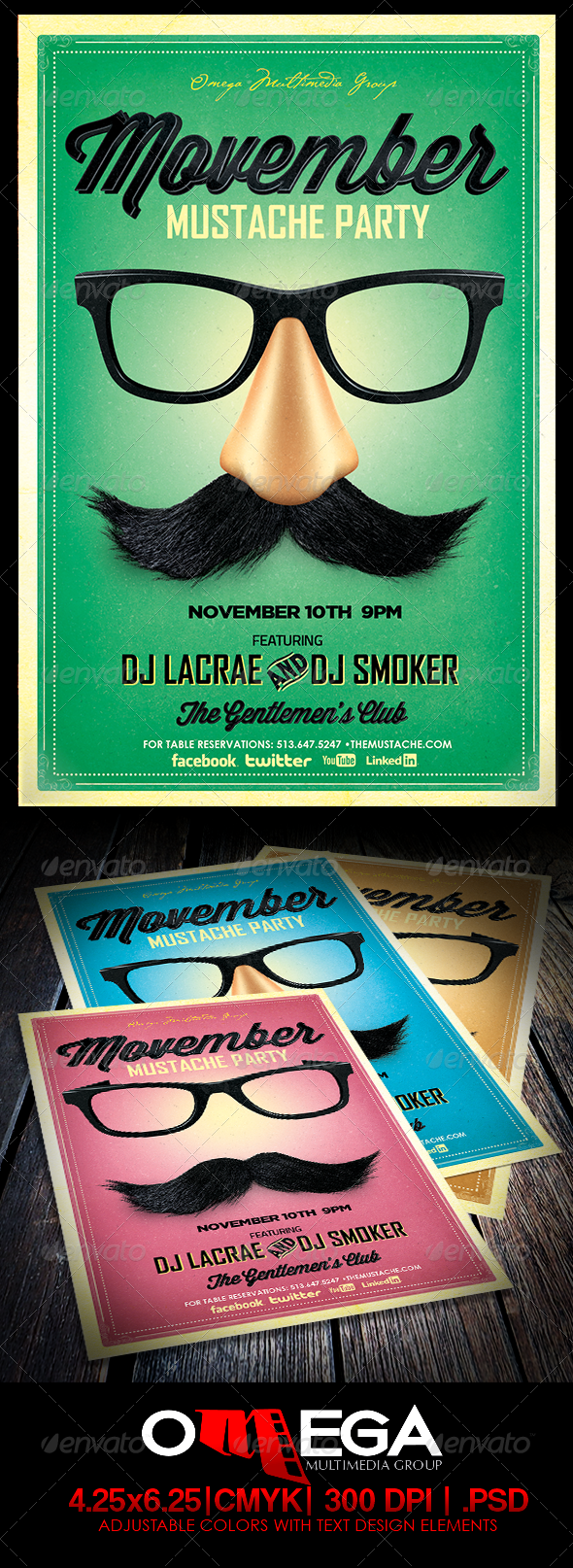 GraphicRiver Movemeber Mustache Party 5801629