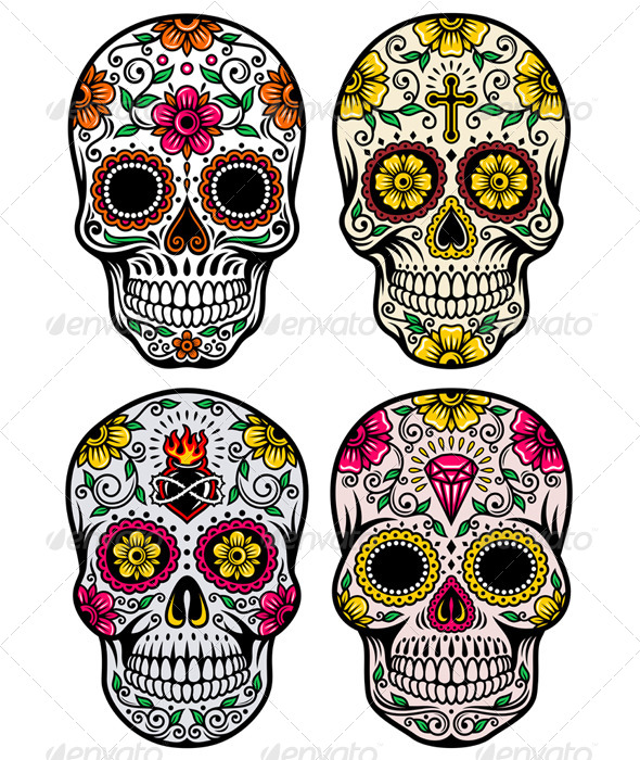 GraphicRiver Day of the Dead Skull Vector Set 5768638