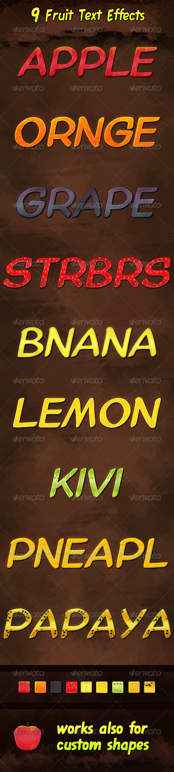 GraphicRiver Nine Fruit Text Effects 5802358