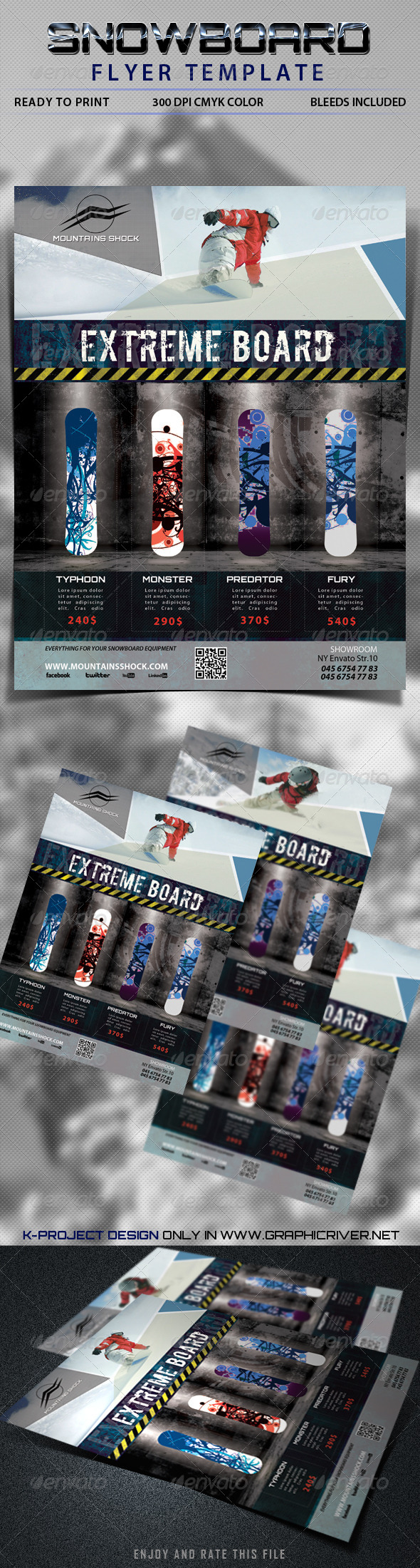GraphicRiver Snowboard Flyer Template 5802678
