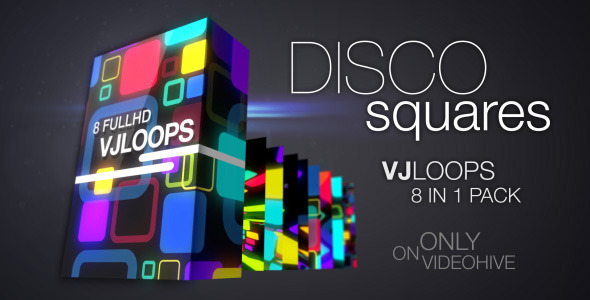 Glowing Disco Squares VJLoops Pack