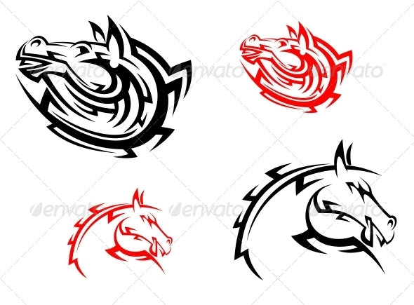 GraphicRiver Tribal Mascots with Red and Black Horses 5805089
