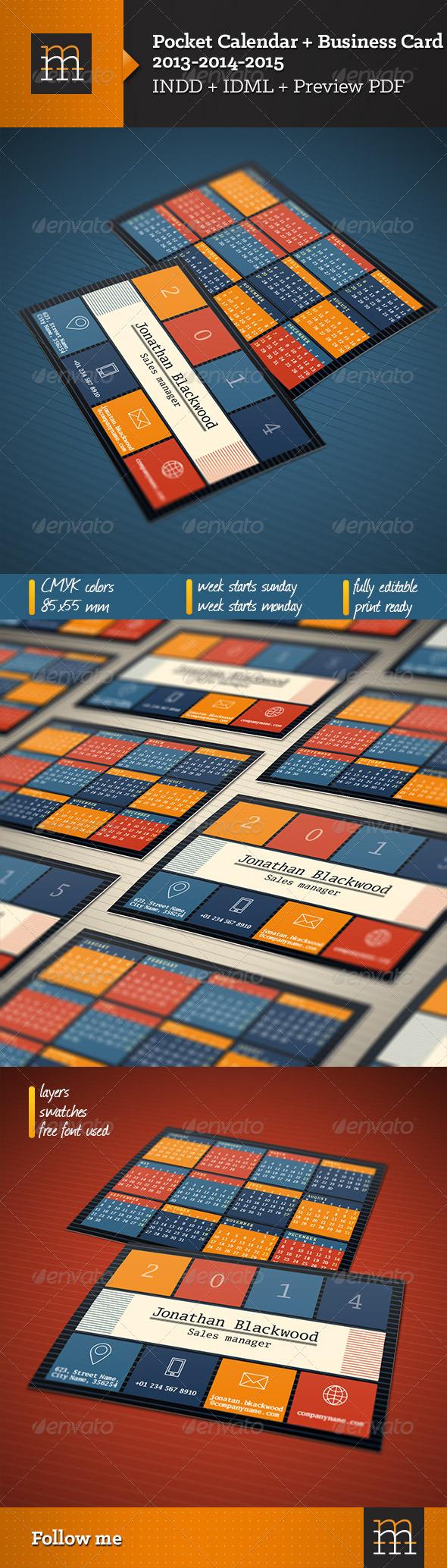 business card pocket calendar 2013 2014 2015 graphicriver