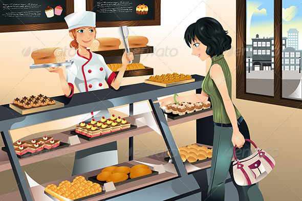 GraphicRiver Buying Cake at Bakery Store 5805835