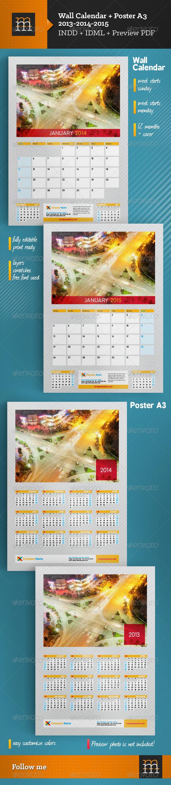 Wall Calendar & Poster A3 2013-2014-2015