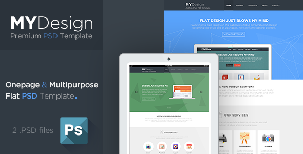 ThemeForest MYDesign Onepage Multipurpose Flat PSD Template 5806143