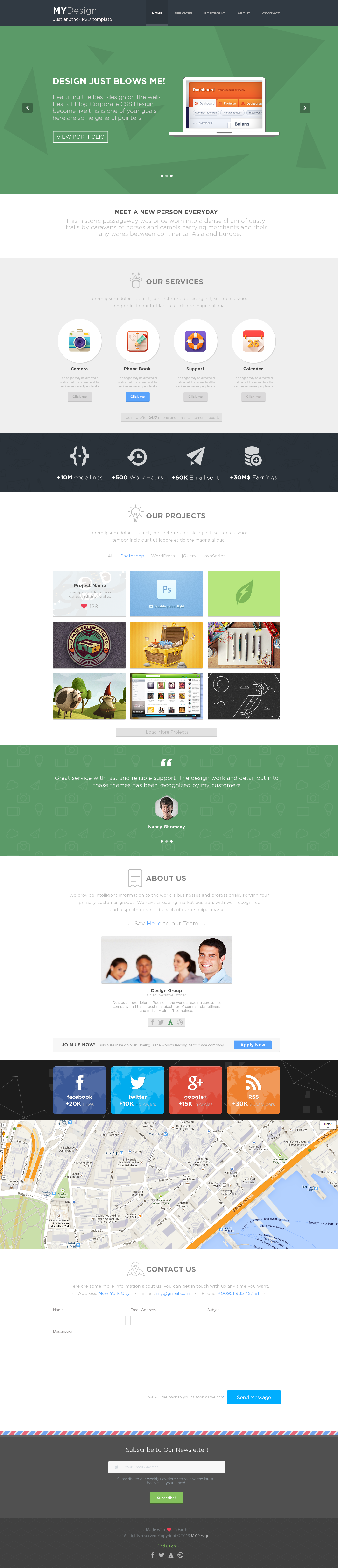 MYDesign - Onepage Multipurpose Flat PSD Template